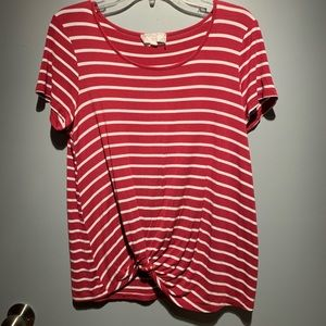 4/$30 Pink Rose Striped Relaxed Fit Tee (L)